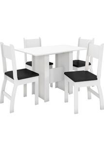 Conjunto De Mesa E 4 Cadeiras Para Sala De Jantar Milano-Poliman - Branco / Preto