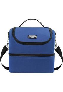 Bolsa Térmica Com 2 Compartimentos- Azul & Preta- 28Jacki Design