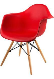 Cadeira Arm Com Braco Vermelho Fosco Base Madeira Clara - 51957 - Sun House
