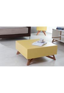 Mesa De Centro Quadrada Colorida Amarela 70X70 Design Moderno E Retrô Freddie - 70,6X70,6X33,7 Cm