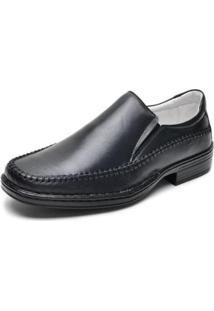 Sapato Social Masculino Couro Elástico - Masculino-Preto