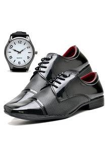 Sapato Social Masculino Asgard Com Relógio New Db 707Lbm Preto