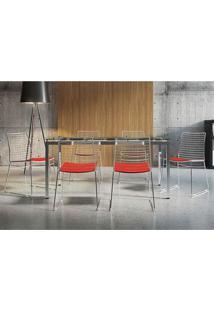 Conjunto Mesa 328 Vidro Incolor Cromada Com 6 Cadeiras 1712 Vermelho Carraro