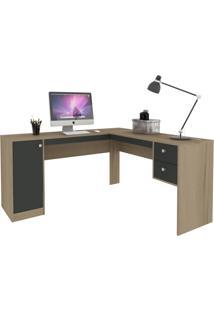 Mesa Para Escritório 1 Porta 2 Gavetas Ho-2935 Avelã/Onix - Hecol