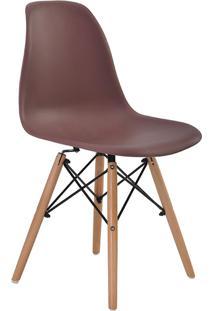 Cadeira Sem Braço Pp Base De Madeira Eiffel -Rivatti - Café