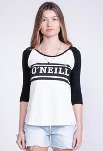 Camiseta O'Neill Manga Longa Raglan Estampada Logo Feminina - Feminino-Preto