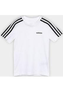 Camiseta Infantil Adidas Yb 3 Stripes Tee Masculina - Masculino-Branco+Preto