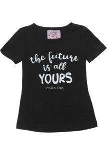 Camiseta Colcci Fun Menina Escrita Preta