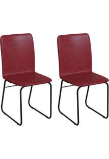 Conjunto Com 2 Cadeiras Hawke Vinho E Preto