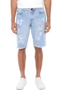 Bermuda Jeans Presence Destroyed Azul