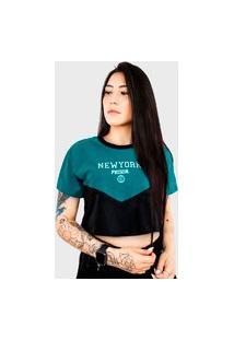 Camiseta Cropped Feminina Prison New York Blue Night