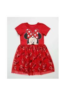 Vestido Infantil Manga Curta Minnie Disney Tam 1 A 4
