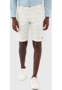 Bermuda Aleatory Listras Branco/Azul - Branco - Masculino - Dafiti