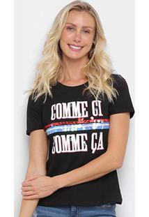 Camiseta Eagle Rock Comme Ci Paetês Feminina - Feminino-Preto