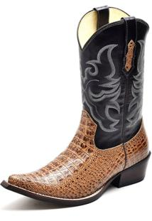 Bota Texana Em Couro Cano Alto Bico Fino Confort Gaspariano Calçados Multicolorido