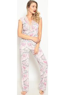 Pijama Com Renda- Rosa Claro & Cinzafruit De La Passion