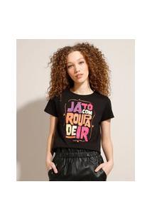 "Camiseta ""Já Tô Com Roupa"" Manga Curta Decote Redondo Preta"