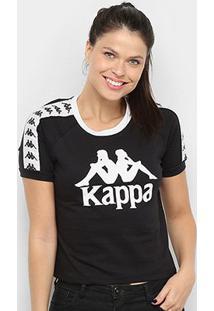 Camiseta Kappa Cropped Piaza Feminina - Feminino-Preto
