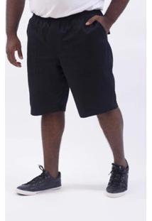 Bermuda Kauê Plus Size Sarja Masculina - Masculino-Preto