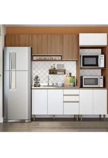 Cozinha Completa 4 Peças 10 Portas Com Basculante Be Mobiliário Madeira/Branco