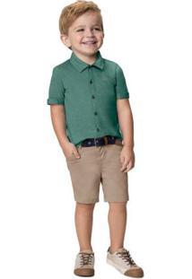 Conjunto Verde Militar Camisa Menino
