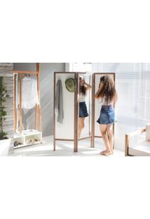 Biombo Com Espelho Em Mdf E Madeira Cabideiro Divisor De Ambientes Ammy Branco Com Nogueira 138X165 Cm