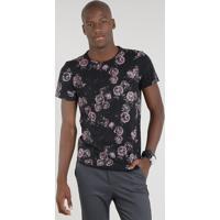 ecf007326c Camiseta Masculina Estampada Floral Manga Curta Gola Careca Preta