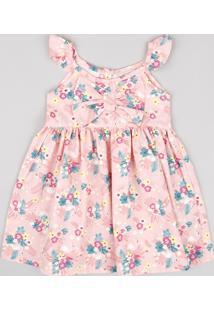 Vestido Infantil Estampado Floral Com Babado E Laço Sem Manga Rosa