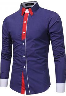Camisa Masculina Slim Casual Manga Longa - Roxo P