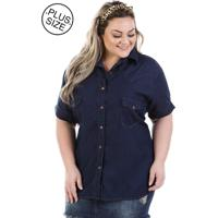 f4eed34259 Camisa Jeans Plus Size - Confidencial Extra Judy Manga Curta