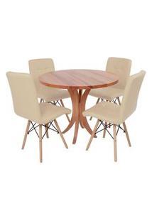 Conjunto Mesa De Jantar Tampo De Madeira 90Cm Com 4 Cadeiras Gomos - Nude