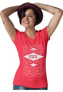 Camiseta Gola V Ezok Skate Lane Vermelho