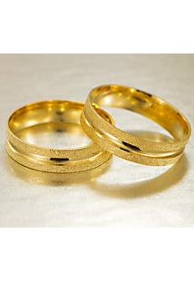 Aliança De Ouro Reta Com Relevo Trabalhado E Brilhante - As1174