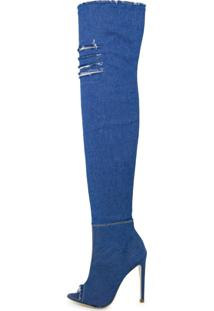 Bota Open Boot Conceito Fashion Over The Knee Jeans Azul