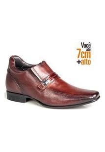 Sapato Social Couro Rafarillo Masculino Salto 7Cm Elástico Mogno