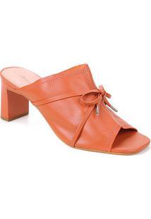 Tamanco Couro Shoestock Laço Salto Alto - Feminino-Marrom