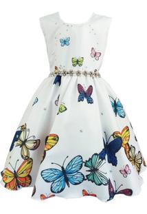 Vestido De Festa Giovanella Infantil Branco Borboletas Regata