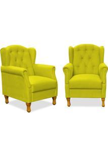 Kit 02 Poltronas Decorativas Para Sala De Estar Yara Suede Amarelo - Lyam Decor