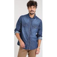 2f799f7116 Camisa Jeans Masculina Com Bolsos Manga Longa Azul Escuro