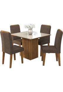 Sala De Jantar Ana 95Cm Com 4 Cadeiras Savana/Off White Cacau