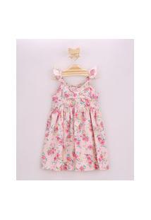 Vestido Infantil Estampado Floral Com Laço E Babado Na Alça Rosa Claro