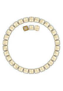 Colar Órbita Cristal De Lapidação Quadrada Em Metal - Ouro