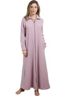 Robe Inspirate Com Zíper Soft Atoalhado Feminino - Feminino-Rosa