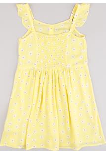 Vestido Infantil Estampado Floral Com Botões E Babado Alça Fina Amarelo