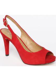 Peep Toe Em Couro Acamurçado- Vermelha- Salto: 10,5Ccarrano