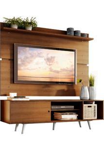 Rack Madesa Dubai E Painel Para Tv Até 65 Polegadas Com Pés - Rustic/Branco Marrom