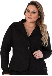 Blazer Confidencial Extra Plus Size Em Sarja Feminino - Feminino