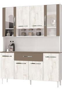 Armário Cozinha Cancun Branco/Aspen/Canela 8 Portas 1 Gavetão - Incorplac