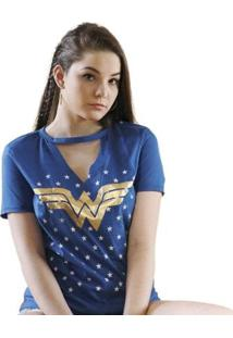 Camiseta Bandup! Chocker Wonder Woman Foil - Feminino-Azul