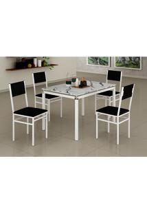 Conjunto De Mesa De Cozinha Com 4 Cadeiras Monaco Corino Branco E Preto
